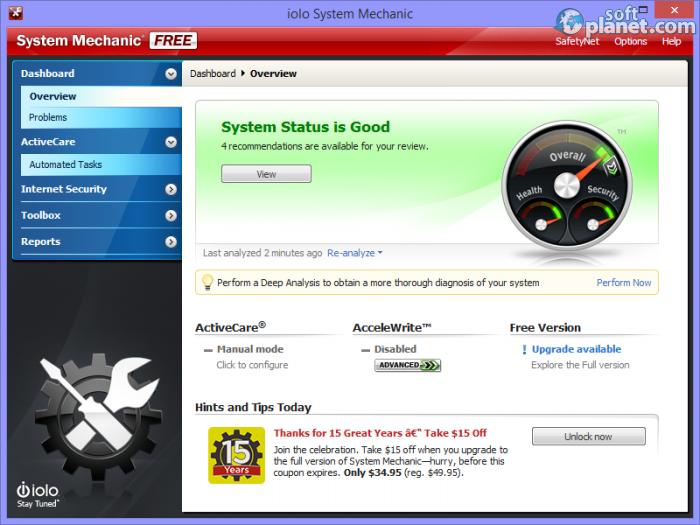 Скачать System Mechanic v.10.5.4 можно тут (Shareware, Windows All.
