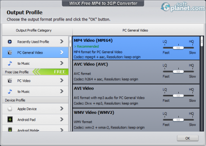 WinX Free MP4 to 3GP Converter Screenshot4