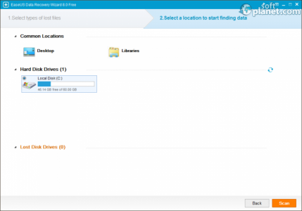 EaseUS Data Recovery Wizard Free Edition Choose a location to scan