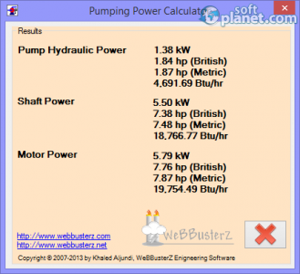 Pumping Power Calculator Screenshot2