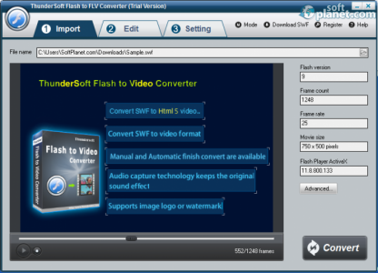 ThunderSoft Flash to FLV Converter Screenshot3