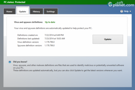 Microsoft Security Essentials Update Tab