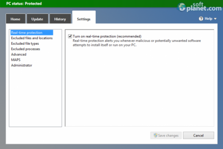 Microsoft Security Essentials Settings