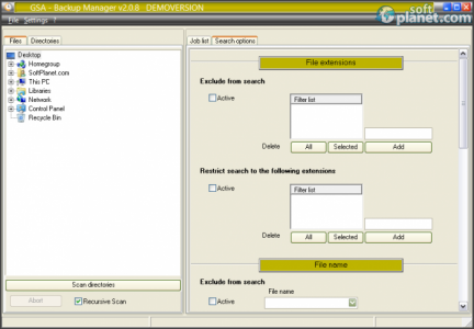 GSA Backup Manager Screenshot2