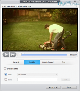 WinX Free MP4 to 3GP Converter Screenshot2
