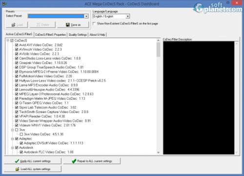 ACE Mega CoDecS Pack Professional Edition 6.03