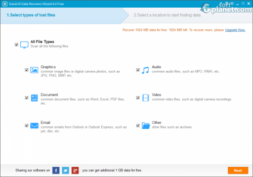 EaseUS Data Recovery Wizard Free Edition 8.0