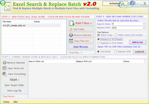 Excel Search & Replace Batch 2.0