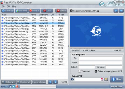 Free JPG To PDF Converter 2.4