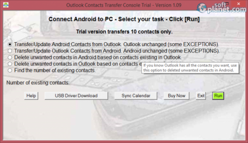 Outlook Contacts Transfer Console 1.09
