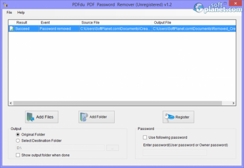 PDFdu PDF Password Remover 1.2