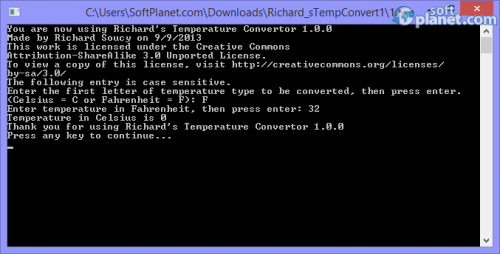 Richard's Temperature Convertor 1.1.0