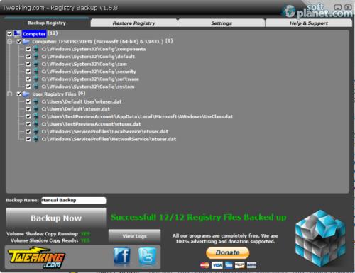 Tweaking.com - Registry Backup 1.9.0