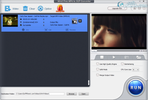 WinX Free MP4 to 3GP Converter 5.0.2