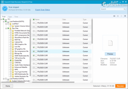 EaseUS Data Recovery Wizard Free Edition Scan Results