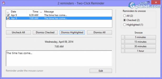 Two-Click Reminder Screenshot5