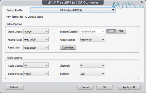 WinX Free MP4 to 3GP Converter Screenshot3