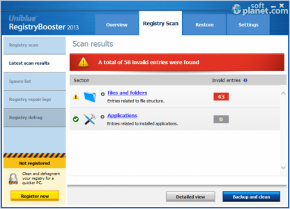 Uniblue RegistryBooster Screenshot3