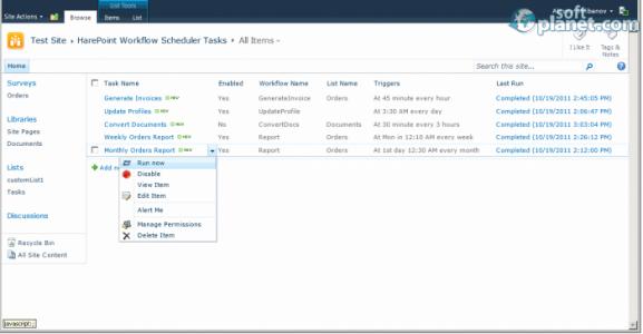 HarePoint Workflow Scheduler for SharePoint Screenshot2