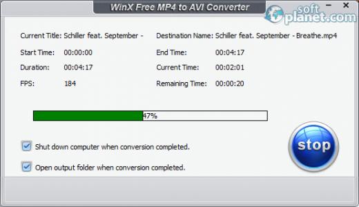 WinX Free MP4 to AVI Converter Screenshot3